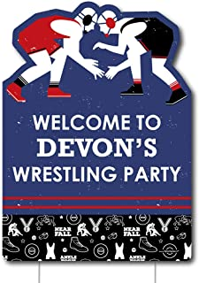 Big Dot of Happiness Personalized Own the Mat - Wrestling - Party Decorations - Custom Birthday Party or Wrestler Party Welcome Yard Sign