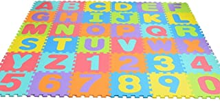 Bloodyrippa Kids Puzzle Alphabet Numbers Play Mat, Color Interlocking EVA Foam Floor Mat, 36 Pieces