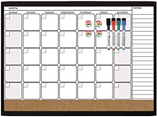 Quartet Combination Magnetic Whiteboard Calendar & Corkboard Value Pack, 17  x 23 inches Combo White Board & Cork Board, Black Frame (44202-BK)