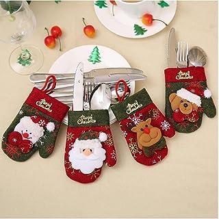 Julporslin Hållare 4PCs Kök Bestick kostym Silverware Hållare Fickor Verktyg Forks Bag för julfest Gullig semestergåva