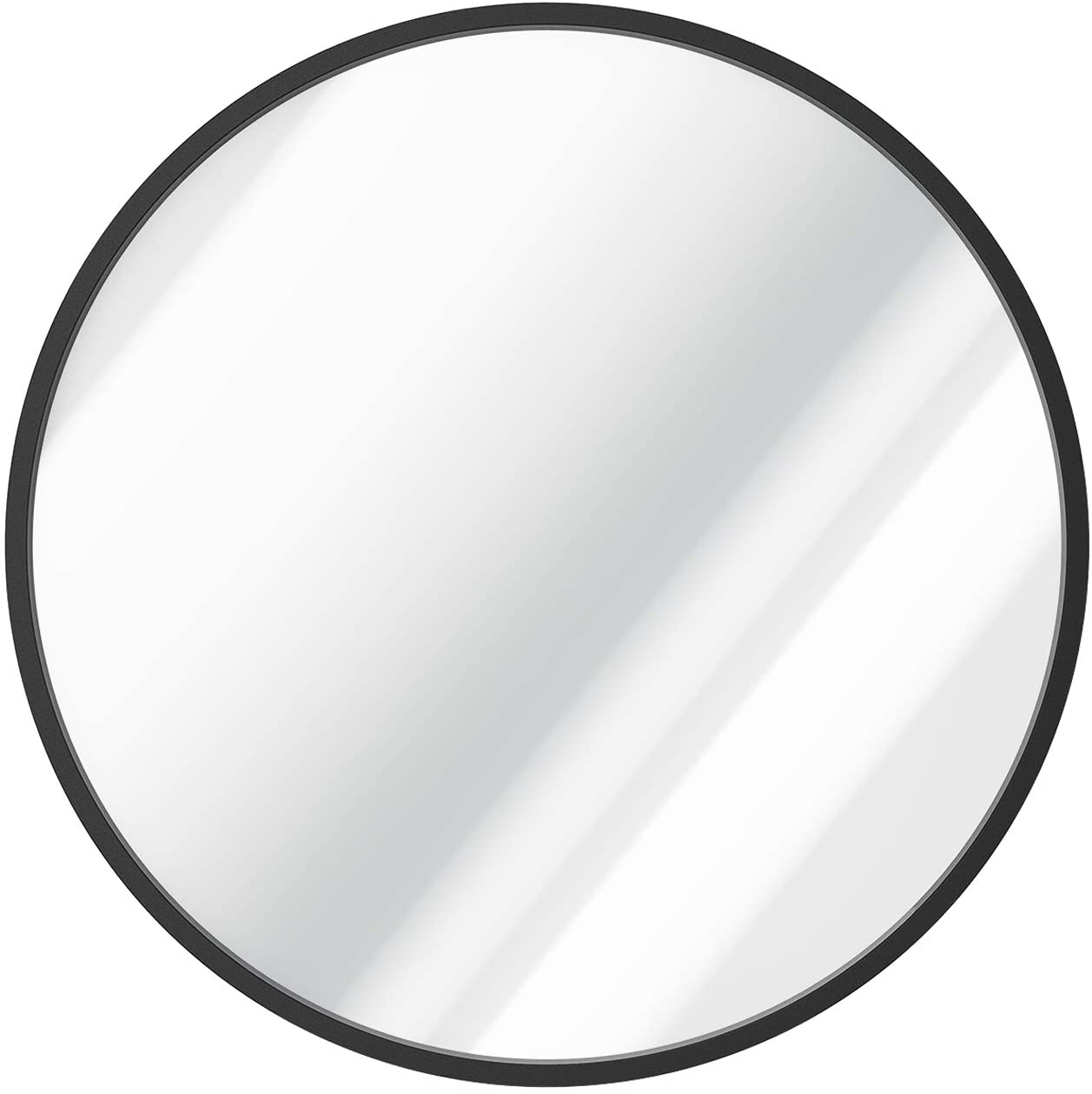 SHINESTAR 24 Inch Round Mirror for Wall Decor, Matte Black Metal Frame, Large Size Circle Vanity Mirror for Bathroom, Bedroom, Living Room, Entryway, Modern Style