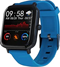 Smart Watch for Android Phones and iOS Phones Compatible iPhone Samsung, IP68 Swimming Waterproof Smartwatch Fitness Tracker Watch Heart Rate Monitor Smart Watches for Men Women Black (Blue)