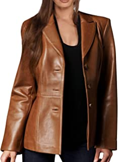 Women's New Zealand Lambskin Brown Leather Blazer/Jacket Solid Aster
