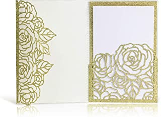 Laser Cut Wedding Invitations with Envelopes - 25pcs 3 Folds 4.7 * 7 inch Gold Glitter Rose Wedding Invitations Cards Kit with Printable Inner Sheet, Envelopes for Bridal Baby Shower Engagement Party