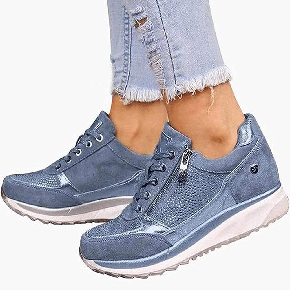 Zapatillas de Running de Deporte para Mujer Zapatillas de Deporte Casuales con Cuña Cordones y Cremallera Zapatillas Ortopédicas Cómodas para Exteriores