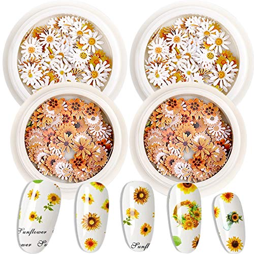 3D Nail Art Slices Sticker Decal 4 Boxes Summer Sunflower Nail Shapes Design Daisy Decoration Chrysanthemum Slices Sequins for DIY Nail Art Flower Sequins Decals Stickers Supplies Accessories