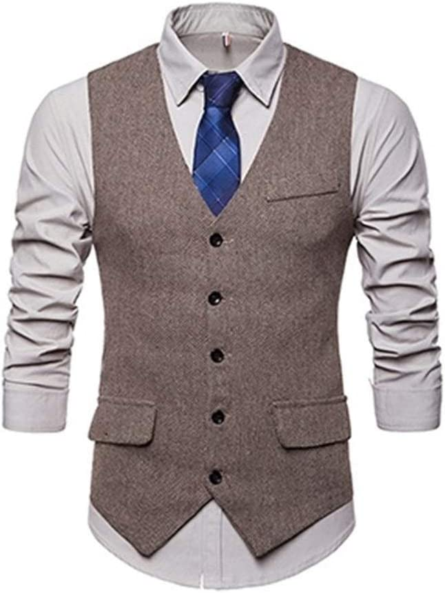 QWERBAM Men's Business Sales Casual Suit Single Vest Oli mart Breasted