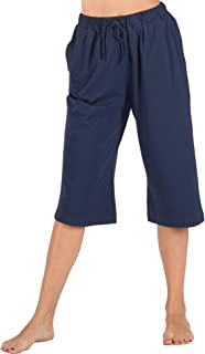 100% Cotton Women Pajama Capri Pants Lounge Pants with Pockets Sleepwear