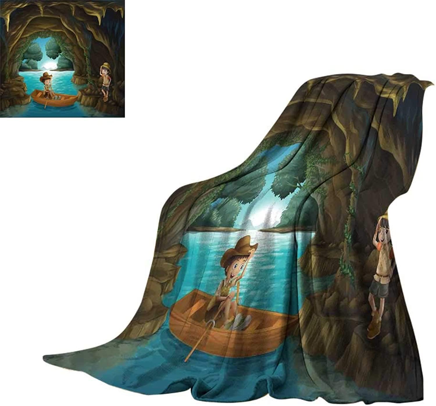 RenteriaDecor Explore,Fashion Warm All Season Blanket Girl and Boy in a Cave with River and Rowboat Boy Scouts Cartoon Style Illustration Blanket for Bed Couch W60 x L50 inch