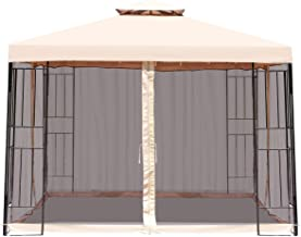AchieveUSA 10 x 10 ft 2 Tier Vented Metal Gazebo Canopy with Mosquito Netting