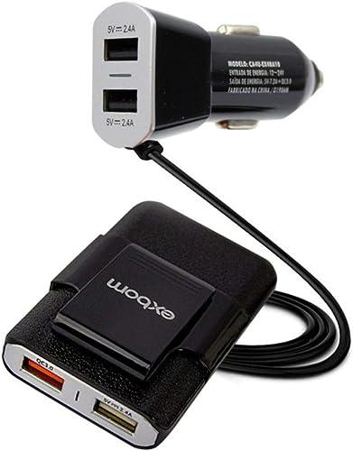 Carregador Veicular Automotivo com Extensor para Passageiros e 4 Conexões USB Universal