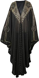 HD African Women Maxi Dress Dubai Middle East Dresses Female Black Chiffon Abayas with Beads