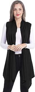 AUQCO Women's Long Draped Open Front Cardigan Vest Sleeveless Lightweight