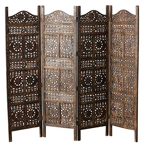 Global Chic Sun, Moon and Star 4 Panel Screen Room Divider of Hand Carved Sustainable Mango Wood, 78...