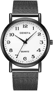 Triskye Mens Women Analog Quartz Watches Business Casual Classic Luxury Stainless Steel Strap Band Round Wrist Watch Man Wristwatch Bracelet for Boys