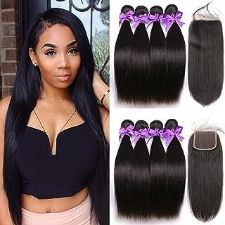 Kandis 8A Brazilian Virgin Straight Hair Bundles with Closure (18 20 22 24+16 closure) Free Part 100% Unprocessed Straight Human Hair 4 Bundles with Closure Natural Color