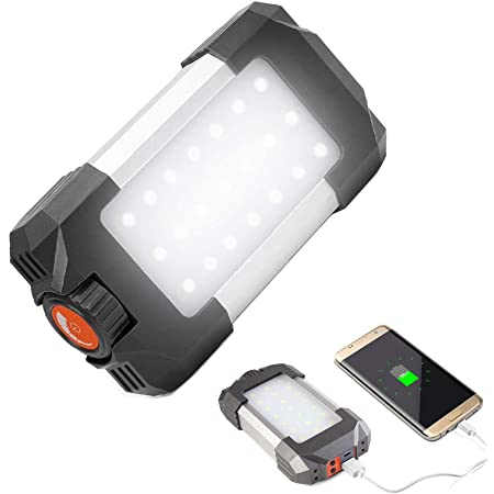 Solar Rechargeable Power Bank,4 Modes Multi-Function Outdoor Work Light Solar Charger for Phones iPad in Camping and Emergency FISHNU Led Solar Backpack Lights