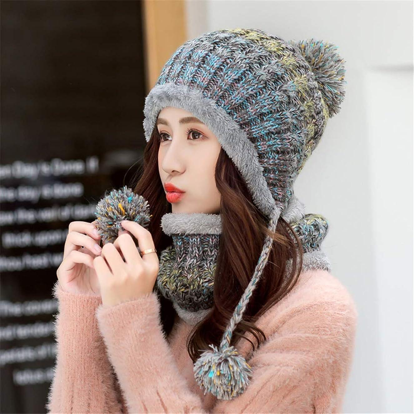 トランスペアレント微生物受益者秋と冬の帽子の女性のニット帽子暖かいプルオーバー帽子プラススカーフ