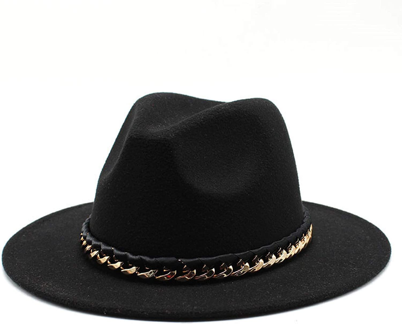 BAJIE Fedora Fashion Iron Chain Felt Fedora Mens Jzz Hats Gentleman Cotton Winter Women Yellow Purple Wide Brim Top Hat