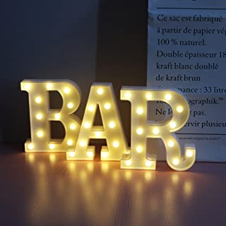 BAR - Illuminated Marquee Bar Sign - Lighted LED Marquee Word Sign - Pre-Lit Pub Bar Sign Light Battery Operated (23.03-in x 8.66-in) By A-COUNT