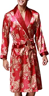 Zhhlaixing 高品質の Luxury Mens Soft Silk Long Nightgown 4 Colors Casual Home Breathable Pyjama