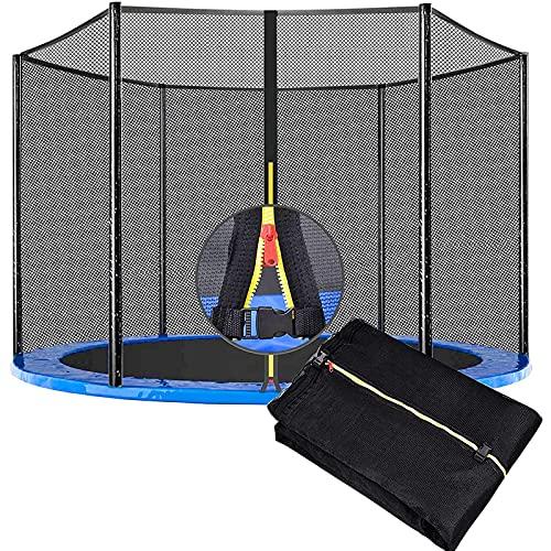 HJCC Red de seguridad para trampolín de repuesto con cremallera, ideal para rebote exterior, 396 cm, 8 polos