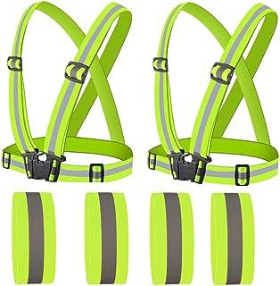 comprar comparacion sylbx 2 Chalecos Reflectantes Chaleco Reflectante Seguridad 4x1 cm Ajustable Reflector Chaleco con 4 Pulsera Reflectantes ...