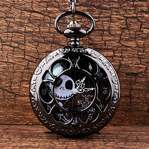 CHITOP Steampunk Tim Burtons- Nightmare Before Christmas -Hollow Quartz Pocket Watch for Jack Skellington and Sally Men Women Gift
