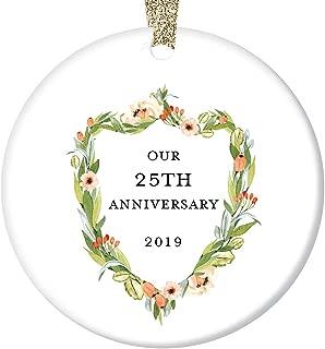 25th Wedding Anniversary Gift Ornament 2019 Christmas 25 Twenty-Five Years Married Couple Holiday Keepsake Present Husband & Wife Marriage Anniversaries 3