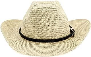 SXQ Summer Men's Women's Straw Hat Casual Denim Sunproof Western Cowboy Hat Fedora Hat Outdoor Travelling Beach Sun Hat With Thin Leather Belt Decoration Gentlemen's Hat UV Protective Visor Cowgirl Ha