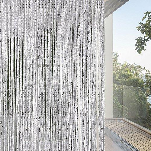 Unbekannt Fadenvorhang Fliegenschutz Türvorhänge im Tautropfen Design als Raumteiler oder Festliche saisonale Dekoration (Höhe: 200cm Breit:100) (Grau)