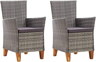 vidaXL 2x Solid Acacia Wood Garden Chair with Cushions Outdoor Dining Furniture Patio Backyard Terrace Porch Seat Armchair...