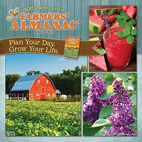 Farmers Almanac 2021 12 x 12 Inch Monthly Square Wall Calendar, Weather Farm Gardening Health Organic
