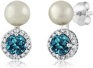 1.30 Ct London Blue Topaz Cultured Freshwater Pearl 925 Sterling Silver Earrings