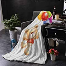 hengshu Cartoon Bedding Fleece Blanket Queen Size Teddy Bear Colorful Balloons and Stars Cheerful Love Friends Animal Cartoon Print Super Soft Cozy Queen Blanket W57 x L74 Inch Multicolor