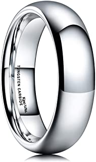 King Will Basic Men's 2mm/4mm/6mm/8mm Glod/Rose Glod/Silver High Polished Comfort Fit Domed Tungsten Carbide Ring Wedding ...