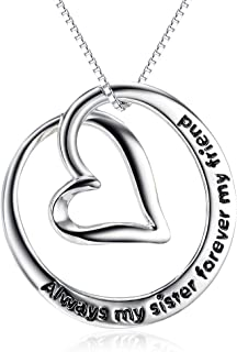 YFN Sister Gifts from Sister, Sterling Silver Always My Sister Forever My Friend Bar Pendant Necklace Jewelry, Birthday Jewelry Gift Necklaces for Sisters