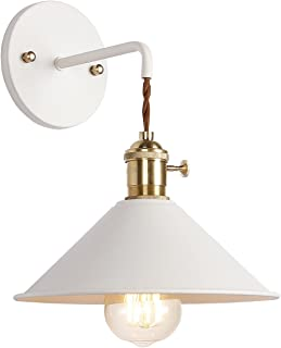 iYoee Wall Sconce Lamps Lighting Fixture with on Off Switch,White Macaron Wall lamp E26 Edison Copper lamp Holder with Frosted Paint Body Bedside lamp Bathroom Vanity Lights