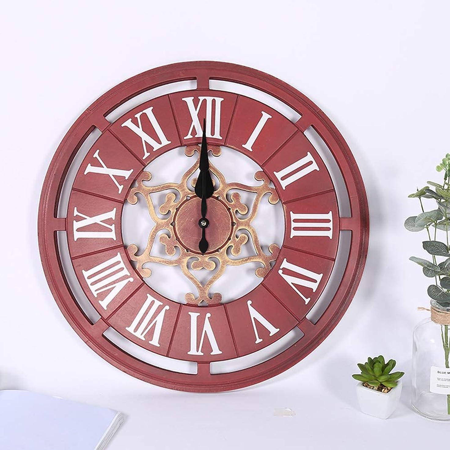 ホールドオール優雅なメガロポリスWsw ヨーロッパレトロラウンド古いローマ数字壁掛け時計ホームリビングルームの寝室レストランミュートノンチックMDF装飾的な装飾品壁掛け時計50 * 50 Cm ファッション