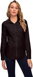 Women's Simple Button Down Shirt Long Sleeve Formal Work Blouse