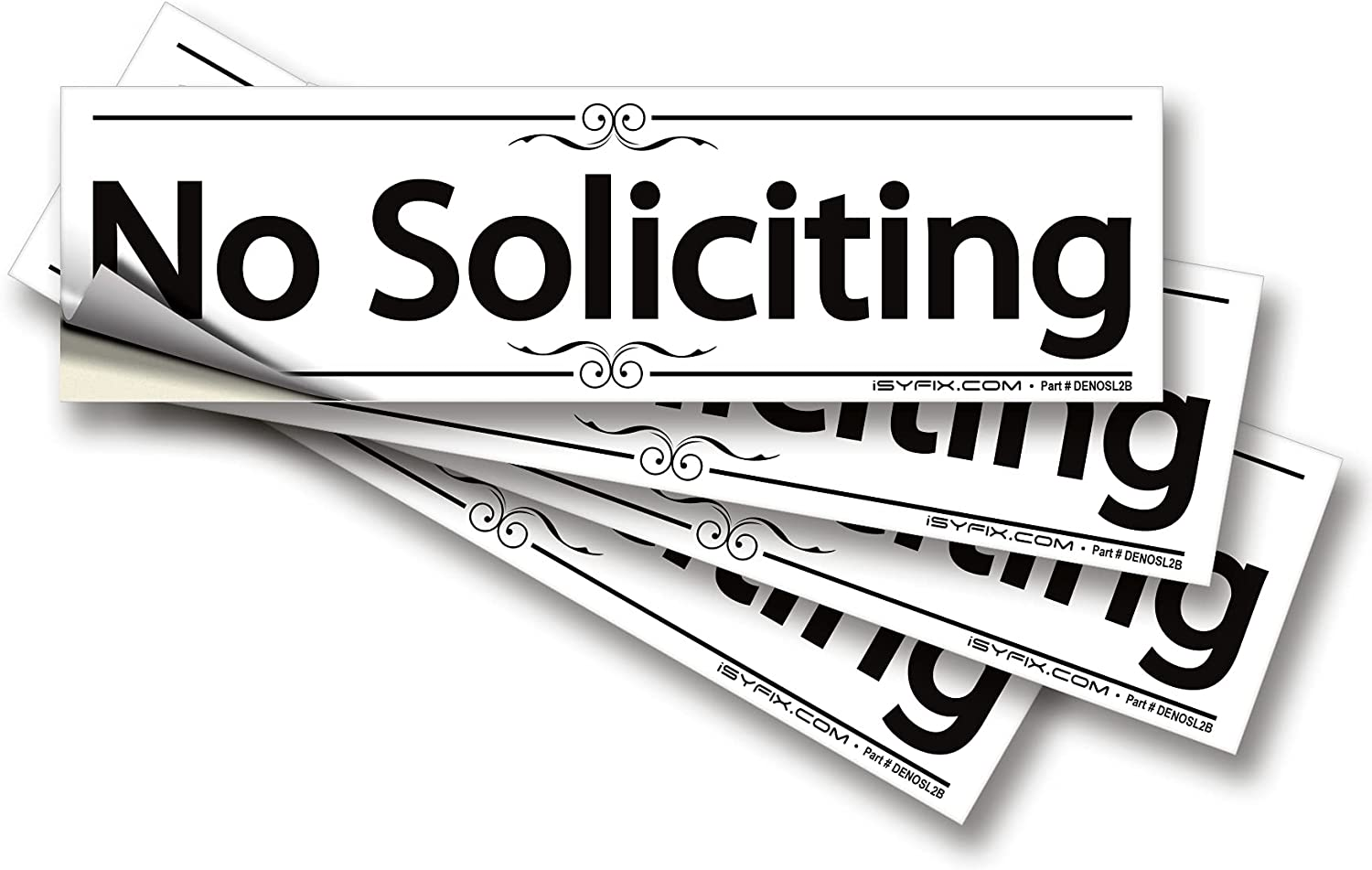 iSYFIX No Soliciting Sign Sticker for House, Home & Business – 4 Pack 7x2 inch – Premium Self-Adhesive Vinyl, Laminated for Ultimate UV, Weather, Scratch, Water and Fade Resistance, Indoor & Outdoor