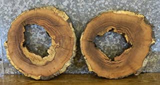 2- Red Oak Round Cut Rustic Live Edge Picture Frame/Wall Art Slabs T: 1 3/8''D: 16'' - 6627-6628
