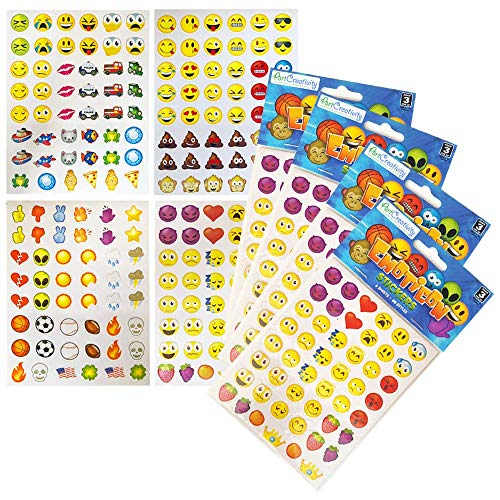 ArtCreativity Assorted Emoji Stickers for Kids, 12 Pack with 72 Sheets and Over 3,000 Stickers, Emoticon Sticker Set for Teacher Classroom Rewards, Art Supplies, Party Favors, Goodie Bag Fillers