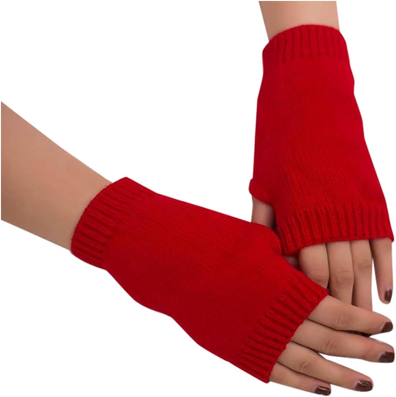 Fuumiol 1Pairs Women Winter Warm Knit Fingerless Gloves Fingerless Gloves Knit Wrist Warmer Solid Ribbed Glove Mittens