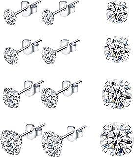 2mm//3mm//4mm Boucles Doreilles en Argent Sterling pour Femmes Hommes Filles-3 Paires de Clous Doreilles en Forme de C/œur avec Zircon Cubique Petites Cartilage Boucles Doreilles Plaqu/ées Or Blanc