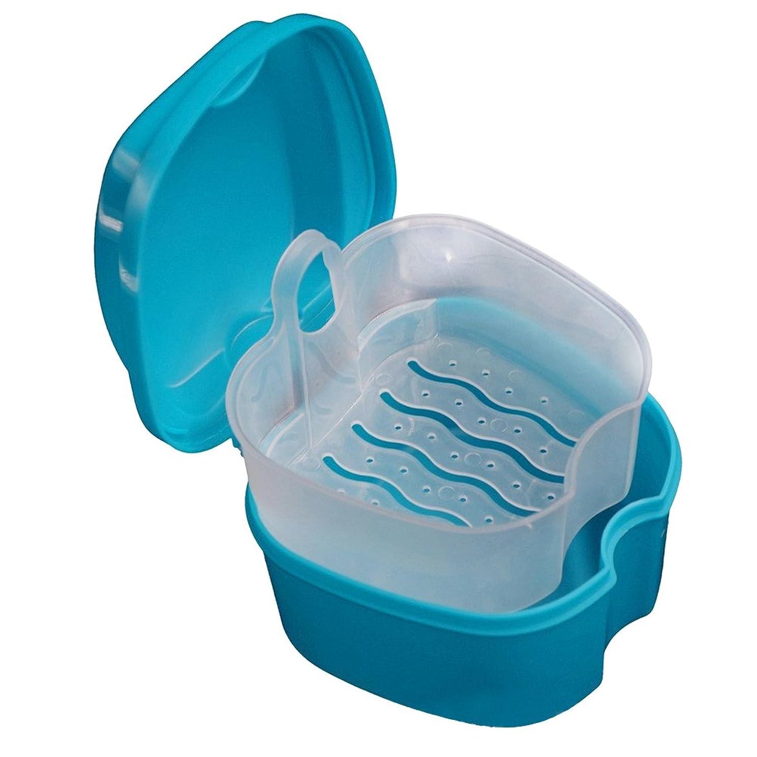 敵意安定しましたリーROSENICE 入れ歯収納 入れ歯ケース 義歯ケース 義歯ボックス 義歯収納容器 リテーナーボックス 家庭旅行用 ストレーナー付き 洗浄(スカイブルー)