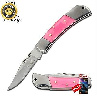 FOLDING POCKET Sharp KNIFE Elk Ridge Classic Blade Trapper Pink Women Girl ER-125PK Combat Tactical Knife + eBOOK by Moon Knives