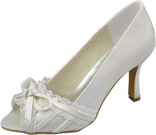 ZHRUI ZHRUI ZHRUI Talons Hauts en Satin de mariée pour Femmes, Chaussures de soirée à Noeud (Couleuré   Ivory-9.5cm Heel, Taille   4.5 UK) 336