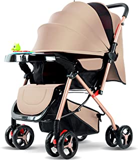 Dapang Lightweight Baby Umbrella Stroller, Modular Travel System, Sleek & Versatile, Easy Infant Car Seat Transfer, Oversized Storage Basket, Travel Stroller, 3-Panel Canopy,Gold