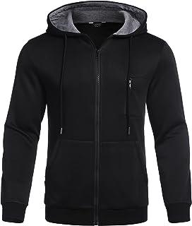 COOFANDY Sudadera con capucha para hombre, forro polar, manga larga, sudadera deportiva con capucha, cremallera completa, ...